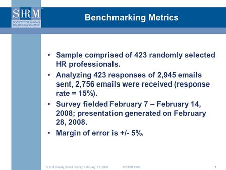 ©SHRM 2008SHRM Weekly Online Survey: February 13, 20081 Benchmarking Metrics Sample comprised of 423 randomly selected HR professionals. Analyzing 423.