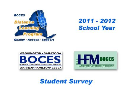 .. SAN-HFM Distance Learning Project Student Survey 2010 – 2011 School Year BOCES Distance Learning Program Quality Access Support.
