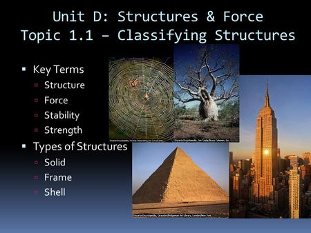 Unit D: Structures & Force Topic 1.1 – Classifying Structures  Key Terms  Structure  Force  Stability  Strength  Types of Structures  Solid  Frame.