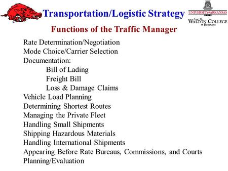 Functions of the Traffic Manager