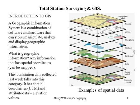 Harry Williams, Cartography1 Total Station Surveying & GIS. INTRODUCTION TO GIS A Geographic Information System is a combination of software and hardware.
