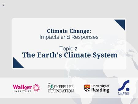 Climate Change: Impacts <strong>and</strong> Responses Topic 2: The Earths Climate System 1.