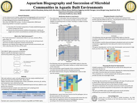Aquarium Biogeography and Succession of Microbial Communities in Aquatic Built Environments Nitrification Results in Coral Pond 1 The nitrite levels in.