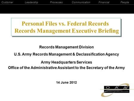 CustomerLeadershipProcessesCommunicationFinancialPeople Records Management Division U.S. Army Records Management & Declassification Agency Army Headquarters.