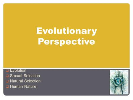 Evolutionary Perspective  Evolution  Sexual Selection  Natural Selection  Human Nature.