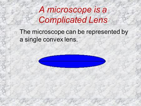A microscope is a Complicated Lens n The microscope can be represented by a single convex lens.