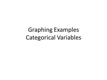 Graphing Examples Categorical Variables