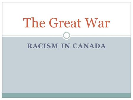 The Great War Racism in Canada.