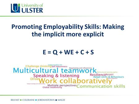 Promoting Employability Skills: Making the implicit more explicit E = Q + WE + C + S.