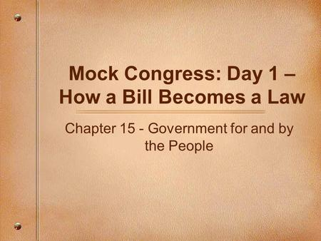 Mock Congress Bill Ideas?