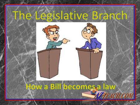 How does a Bill become a law? Bills- proposed laws, or drafts of laws presented to the House or Senate for enactment. Two types: Public- measure applying.