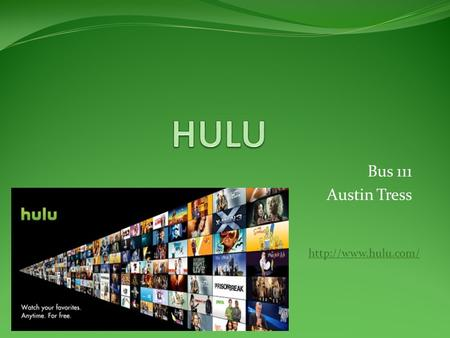 Bus 111 Austin Tress  What is Hulu? Video service that provides users with TV shows, movies, and clips in a simple and convenient.