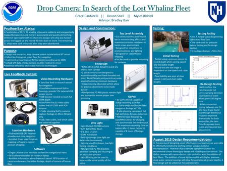 Drop Camera: In Search of the Lost Whaling Fleet Grace Cardarelli || Devon Snell || Myles Riddell Advisor: Bradley Barr Purpose: Design and research a.