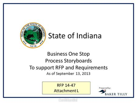 State of Indiana Business One Stop Process Storyboards To support RFP and Requirements As of September 13, 2013 Prepared by: RFP 14-47 Attachment L.