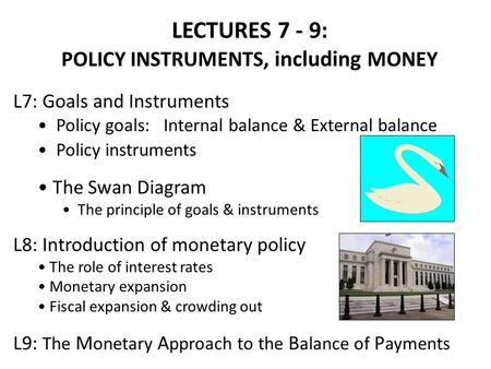 POLICY INSTRUMENTS, including MONEY