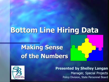Bottom Line Hiring Data Making Sense of the Numbers Presented by Shelley Langan Manager, Special Projects Policy Division, State Personnel Board.