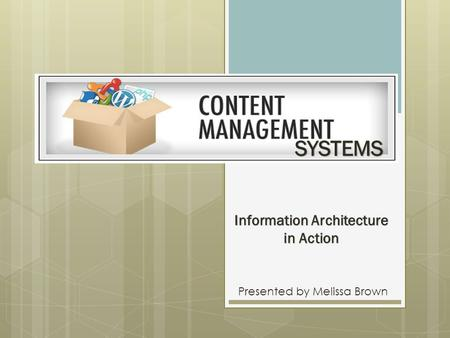 Information Architecture in Action Presented by Melissa Brown SYSTEMS.