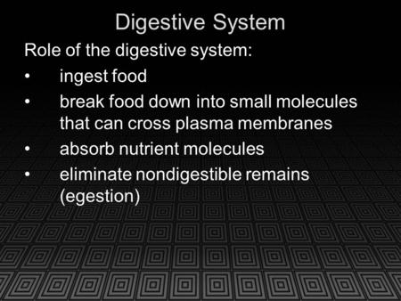 Digestive System Role of the digestive system: ingest food break food down into small molecules that can cross plasma membranes absorb nutrient molecules.