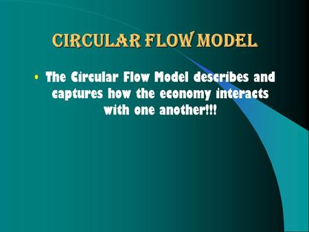 Circular Flow Model The Circular Flow Model describes and captures how the economy interacts with one another!!!