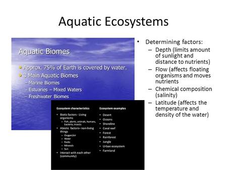Aquatic Ecosystems Determining factors: