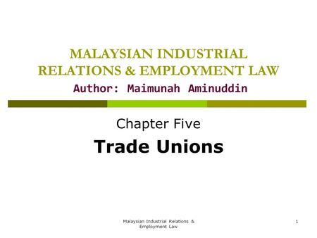 Chapter Five Trade Unions