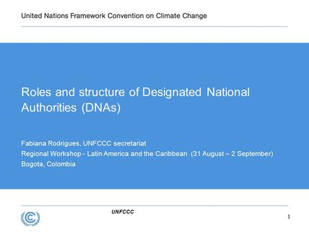 UNFCCC Roles and structure of Designated National Authorities (DNAs) Fabiana Rodrigues, UNFCCC secretariat Regional Workshop - Latin America and the Caribbean.