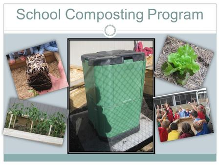 School Composting Program. Photo Gallery Ideas so far…  Grade 1/2 and 3/4 buddy classes to set up and maintain a composting program at school.  Reintroduce.