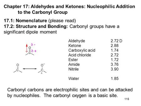 115 Chapter 17: Aldehydes and Ketones: Nucleophilic Addition to the Carbonyl Group 17.1: Nomenclature (please read) 17.2: Structure and Bonding: Carbonyl.