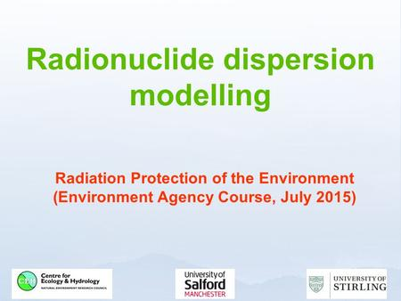 Radionuclide dispersion modelling