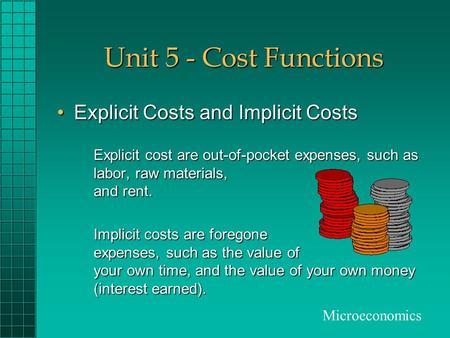 Unit 5 - Cost Functions Explicit Costs and Implicit Costs