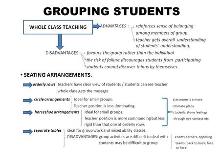 GROUPING STUDENTS ADVANTAGES : reinforces sense of belonging among members of group. teacher gets overall understanding of students´ understanding. DISADVANTAGES: