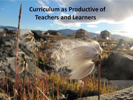 Curriculum as Productive of Teachers and Learners.