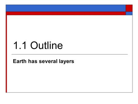 Earth has several layers
