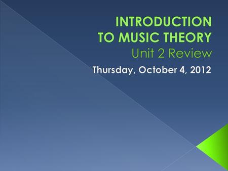 INTRODUCTION TO MUSIC THEORY Unit 2 Review