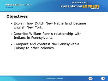 Objectives Explain how Dutch New Netherland became English New York.