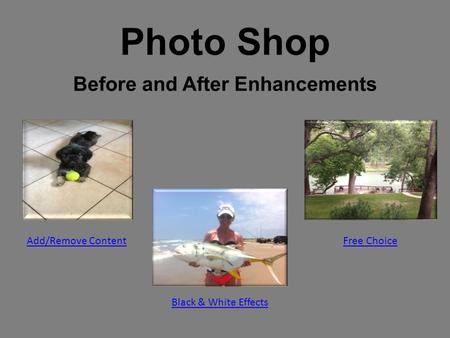 Photo Shop Before and After Enhancements Add/Remove Content Black & White Effects Free Choice.