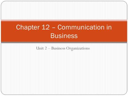 Unit 2 – Business Organizations Chapter 12 – Communication in Business.