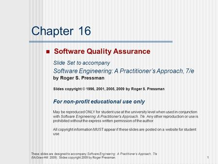 Chapter 16 Software Quality Assurance