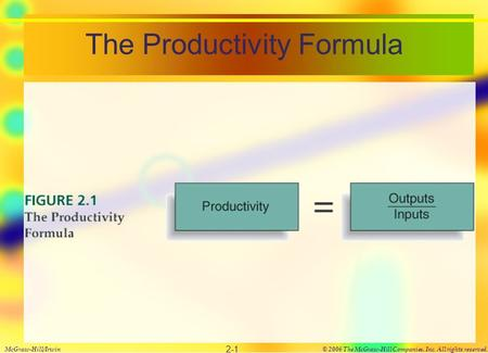 The Productivity Formula McGraw-Hill/Irwin© 2006 The McGraw-Hill Companies, Inc. All rights reserved. 2-1.