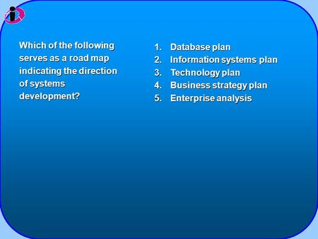 1.Database plan 2.Information systems plan 3.Technology plan 4.Business strategy plan 5.Enterprise analysis Which of the following serves as a road map.