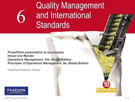 6 Quality Management and International Standards