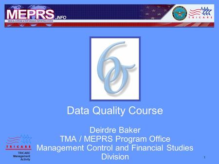 1 Data Quality Course Deirdre Baker TMA / MEPRS Program Office Management Control and Financial Studies Division TRICARE Management Activity.