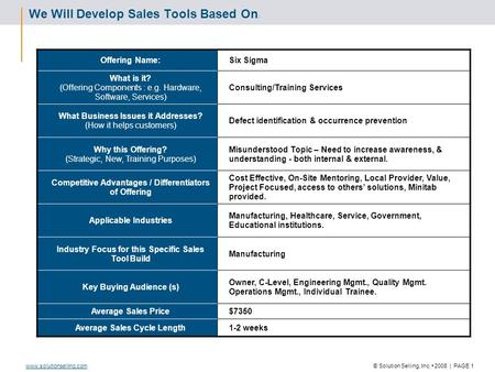© Solution Selling, Inc. 2008 | PAGE 1www.solutionselling.com We Will Develop Sales Tools Based On : Offering Name:Six Sigma What is it? (Offering Components.