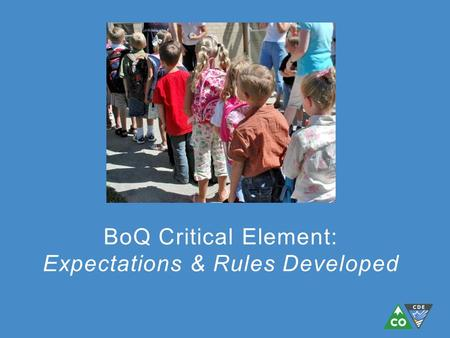 BoQ Critical Element: Expectations & Rules Developed.