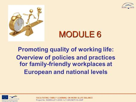 FACILITATING FAMILY LEARNING ON WORK & LIFE BALANCE Project No: 502889-LLP-1-2009-1-LT-GRUNDTVIG-GMP MODULE 6 MODULE 6 Promoting quality of working life:
