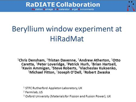 Beryllium window experiment at HiRadMat 1 Chris Densham, 1 Tristan Davenne, 1 Andrew Atherton, 1 Otto Caretta, 1 Peter Loveridge, 2 Patrick Hurh, 2 Brian.
