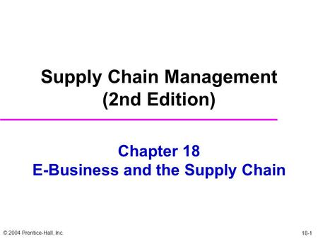 Chapter 18 E-Business and the Supply Chain