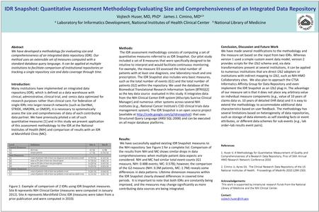 IDR Snapshot: Quantitative Assessment Methodology Evaluating Size and Comprehensiveness of an Integrated Data Repository Vojtech Huser, MD, PhD a James.