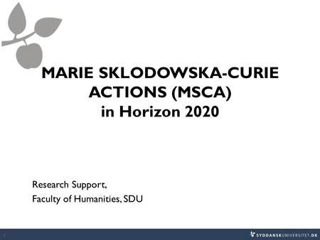 MARIE SKLODOWSKA-CURIE ACTIONS (MSCA) in Horizon 2020 Research Support, Faculty of Humanities, SDU 1.