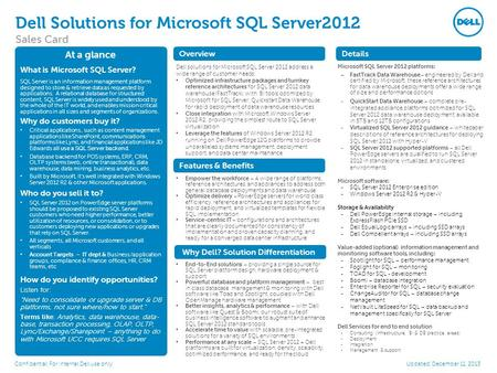 Dell Solutions for Microsoft SQL Server2012 Sales Card Confidential: For internal Dell use only At a glance What is Microsoft SQL Server? SQL Server is.